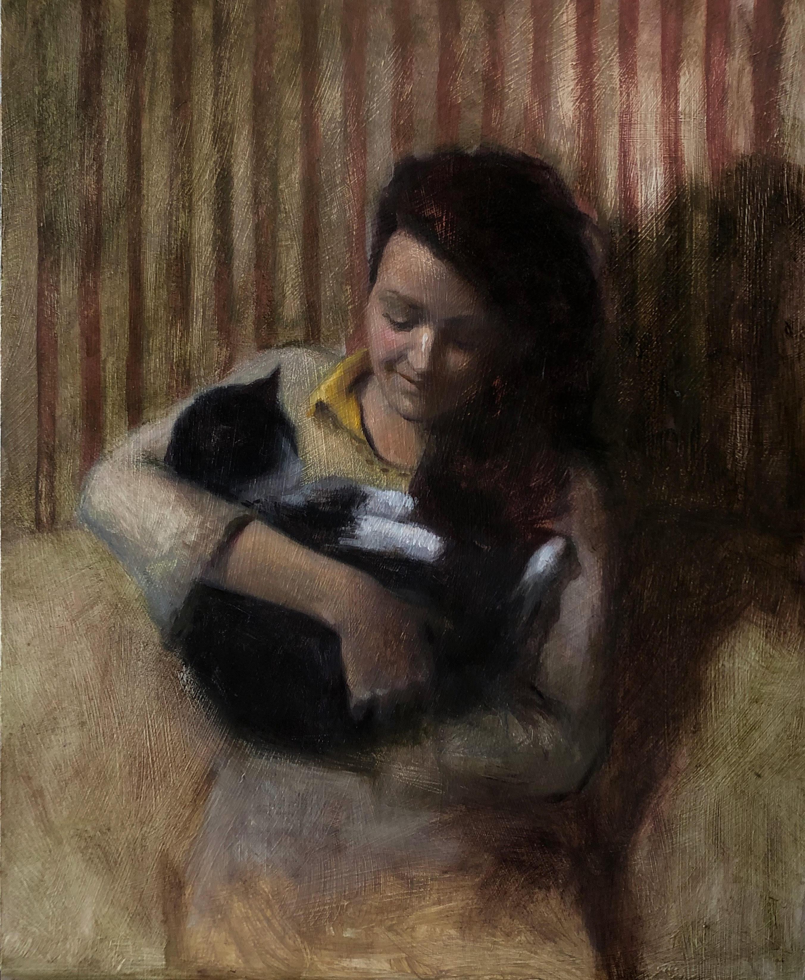 Retrato con gata